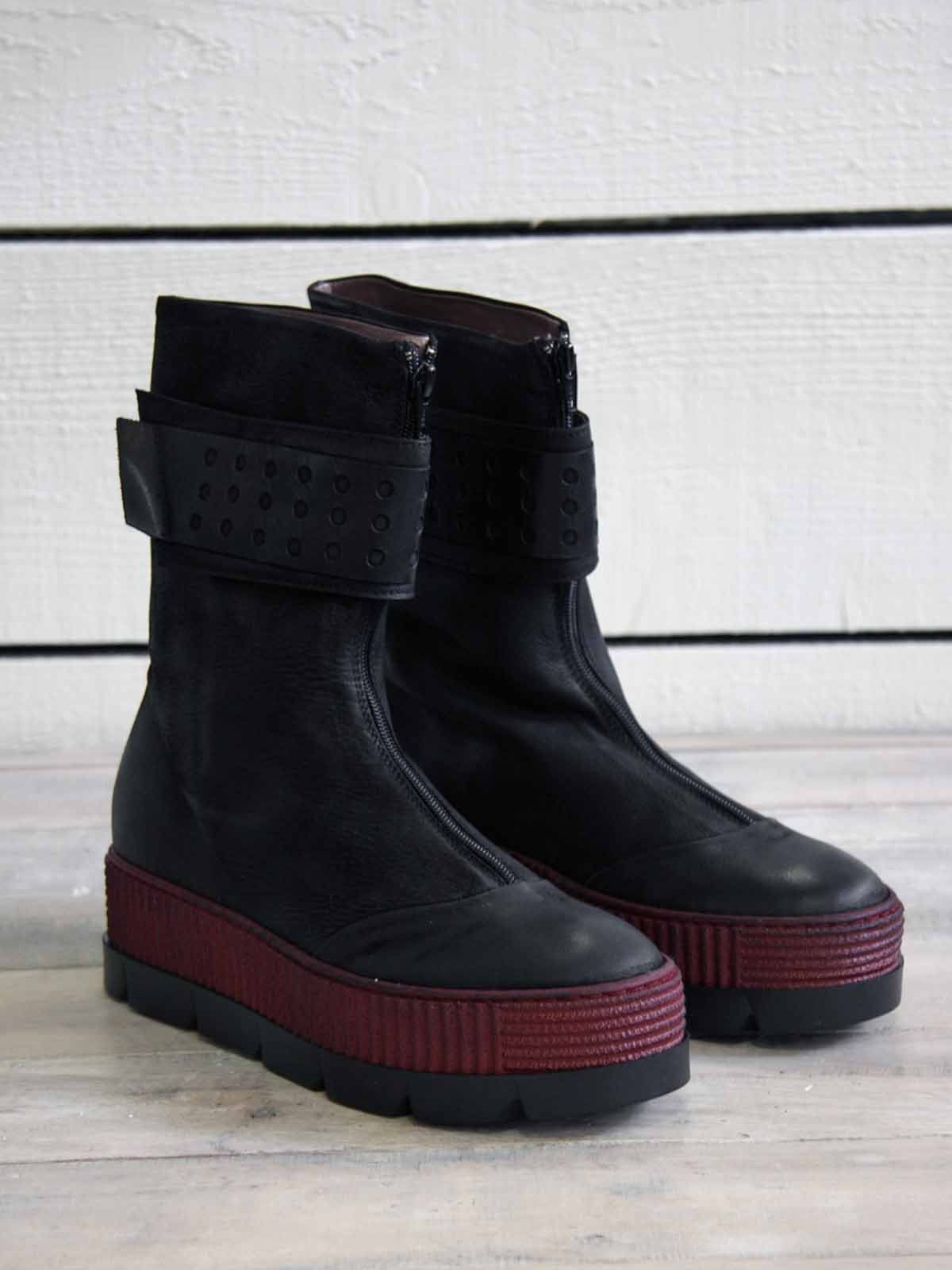 Lofina Chunky Boots with Red Band   Chunky boots, Boots, Red