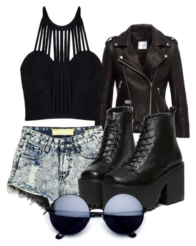 """""""Black on black"""" by sydney-ripley on Polyvore featuring Anine Bing and Posh Girl"""