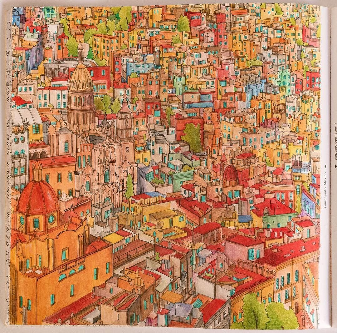 Guanajuato City From Fantastic Cities Coloring Book Using