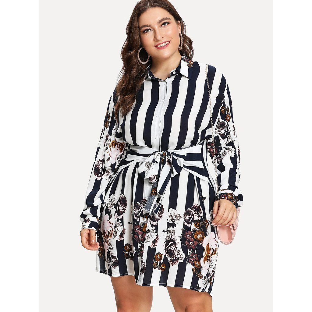 451f1b05d4f80 Belted Stripes and Flowers Shirt Dress
