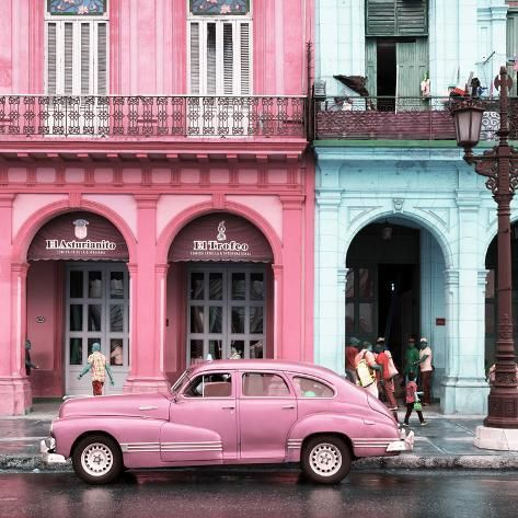 Photographic Print: Cuba Fuerte Collection SQ – Colorful Architecture and Pink C…