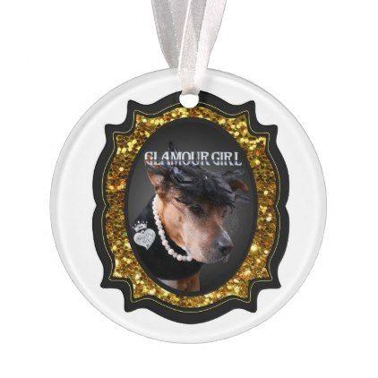 "Glitter Gold ""Glamour Girl"" Christmas Ornament - glitter glamour brilliance sparkle design idea diy elegant"