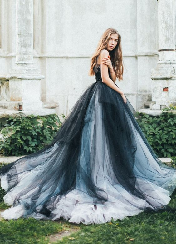 Unique black silver and grey tulle ballgown wedding dress for Blue and black wedding dresses