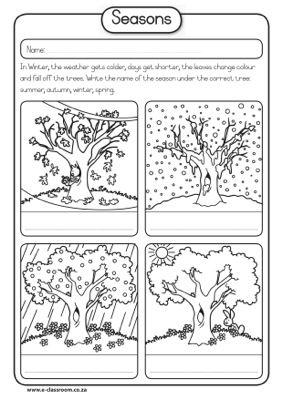 four seasons color cut and glue in right order seasons seasons worksheets kindergarten. Black Bedroom Furniture Sets. Home Design Ideas