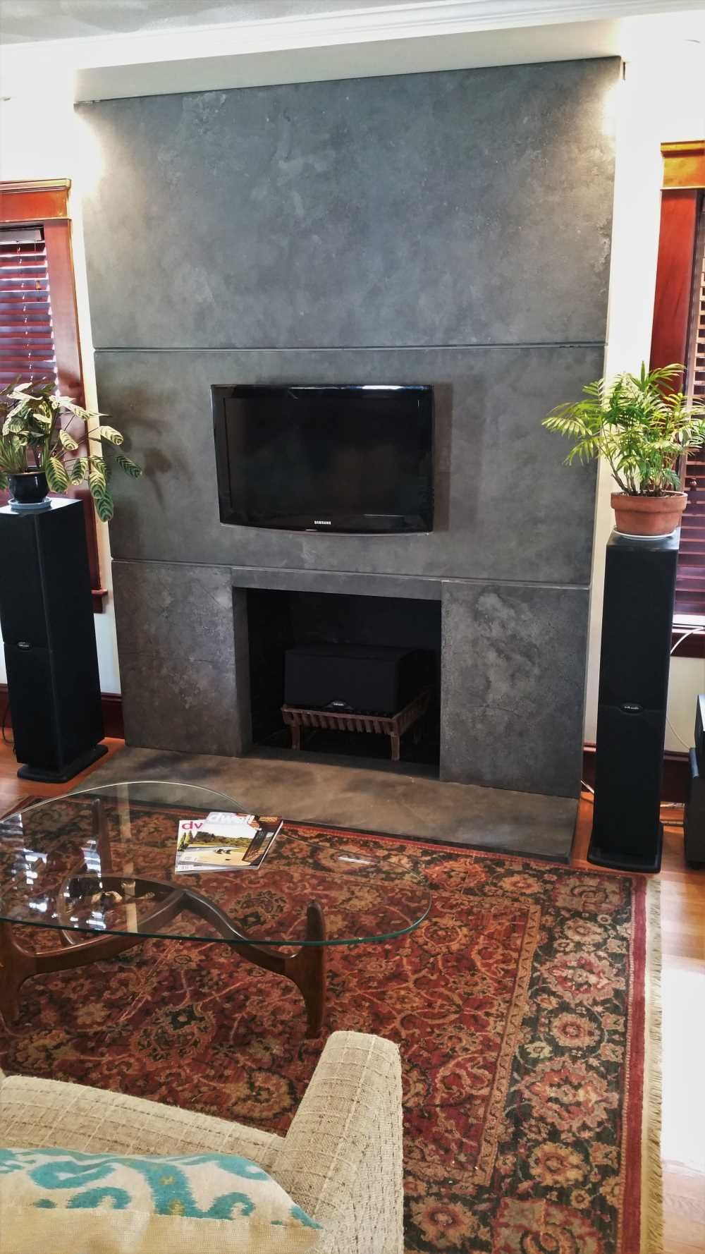 Concrete fireplace surround Concrete countertops
