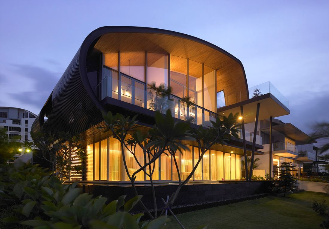 House In Singapore Love The Curved Roof Fibreglass Roof Roof Architecture Patio Roof