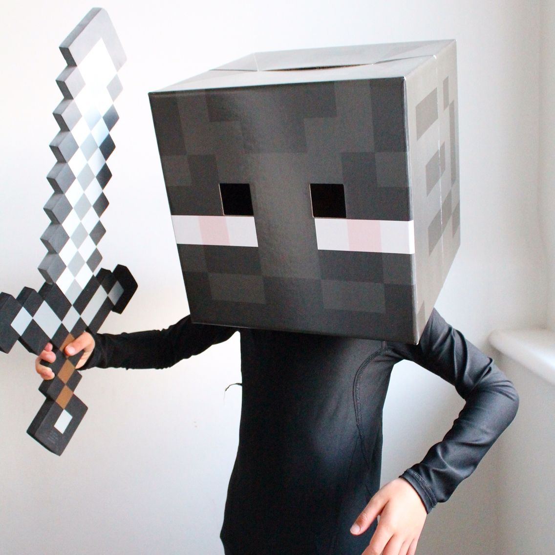 My son's Halloween costume. He is Enderman, a scary creature from the world of Minecraft.