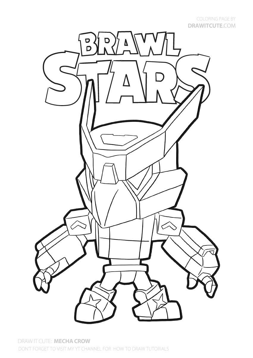 Mecha Crow Brawl Stars Coloring Page Color For Fun Star Coloring Pages Coloring Pages Free Coloring Pages