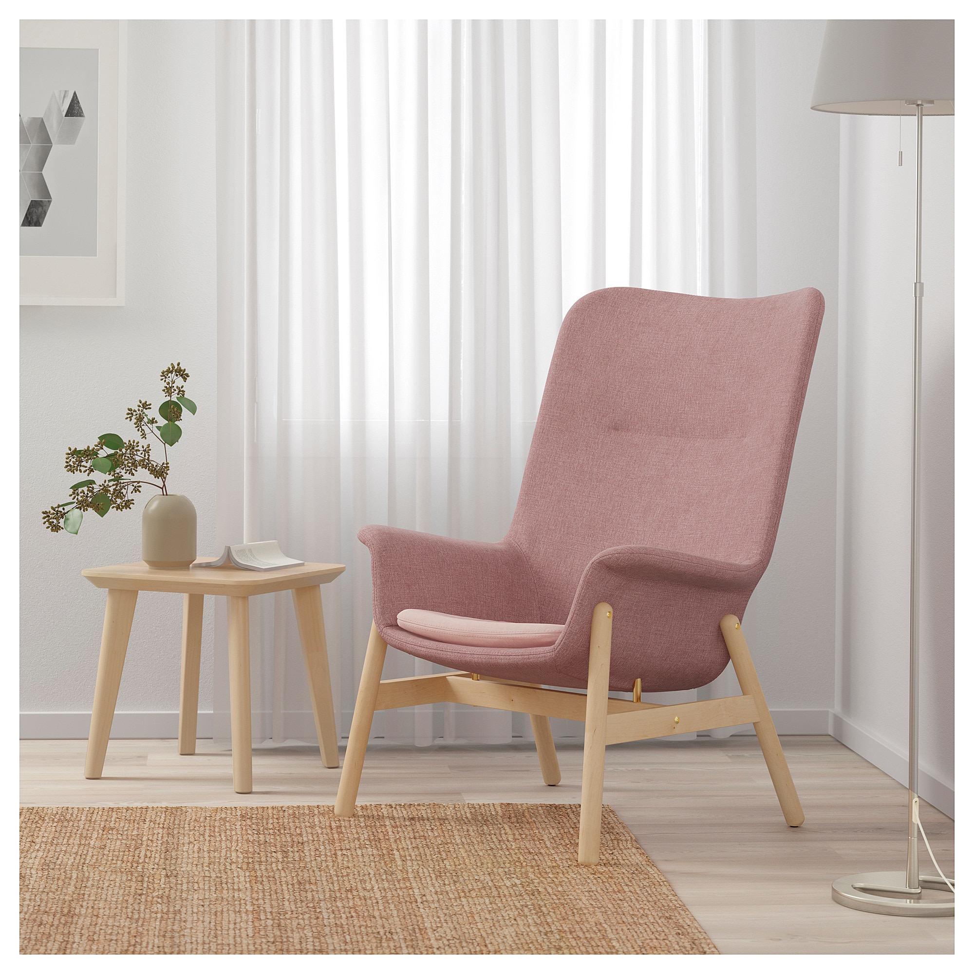 IKEA VEDBO Armchair Gunnared light brownpink High
