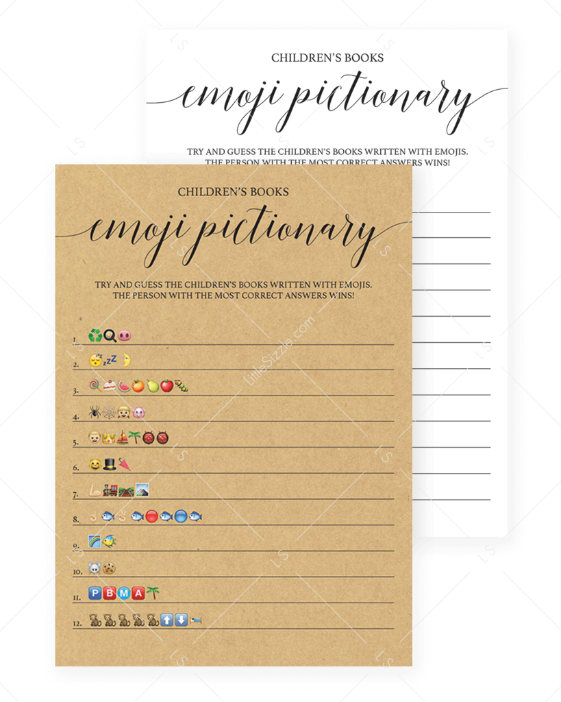 Simple Emoji Pictionary Baby Shower Game Printable | Baby ...