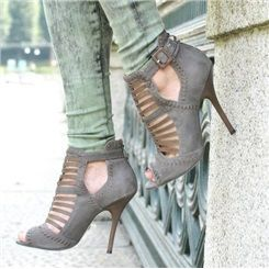 Retro Cut Outs Ankle Boots With Buckle