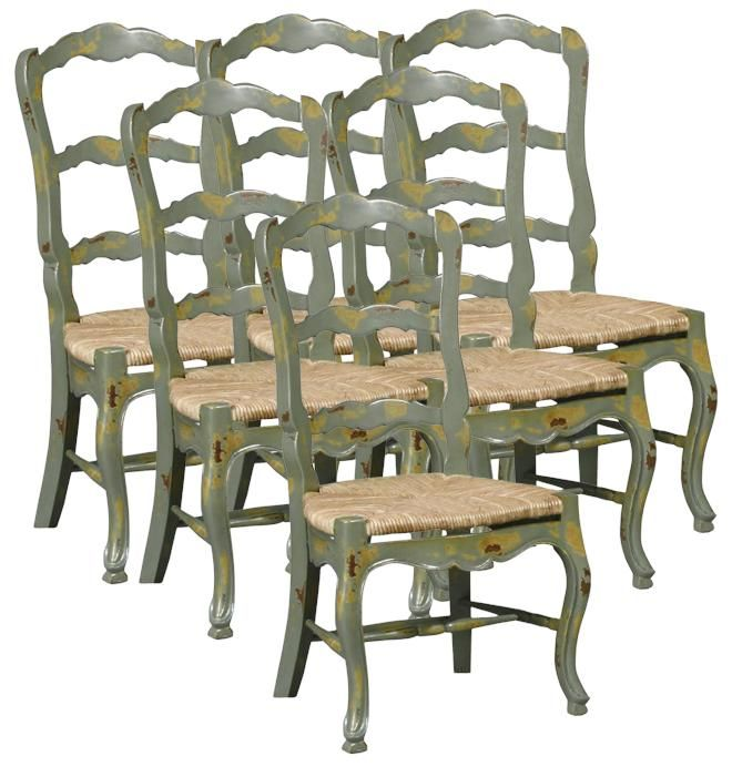 Charming Set 6 New French Country Dining Chairs, Distressed Green Ladderback, Rush  Seat
