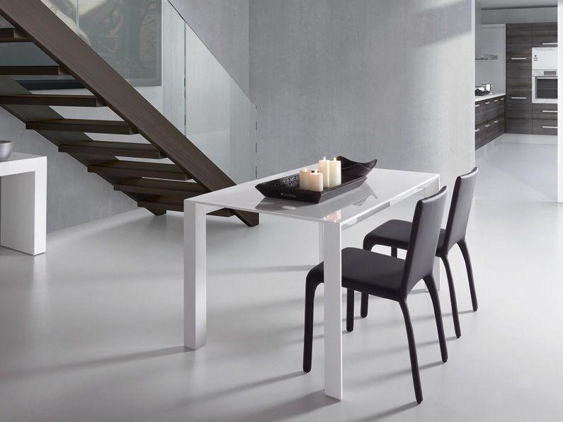 Mesa de comedor, con forma cuadrada y extensible. Color blanco ...