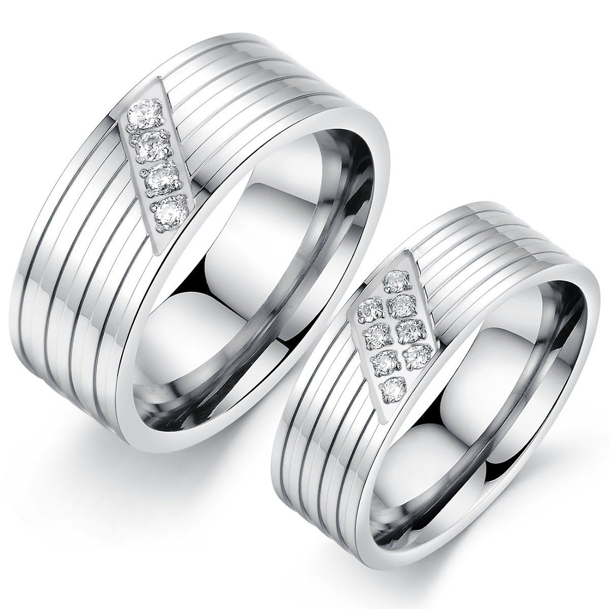 Jewelry Etc. Elegant Couple Stainless Steel Wedding Band