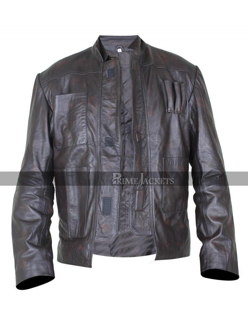 Harrison Ford Star Wars The Force Awakens Han Solo Brown Leather Jacket Leather Jacket Men Han Solo Jacket Leather Jacket [ 1026 x 800 Pixel ]