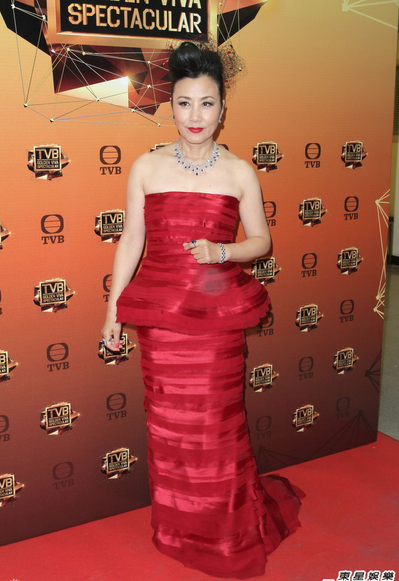 TVB Chinese Year Celebration: Red Peplum Gown. Liza Wang