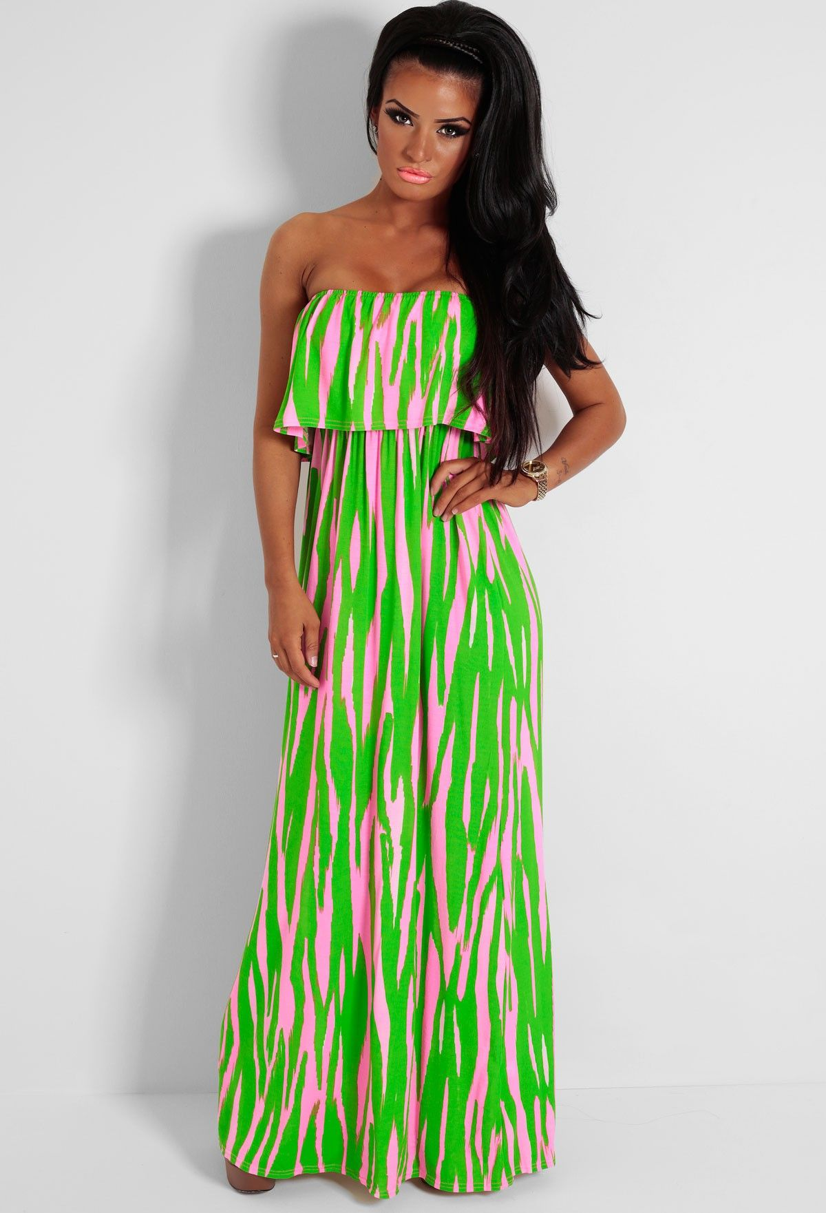 595939e049a1 Fizzy Green and Pink Strapless Overlay Maxi Dress