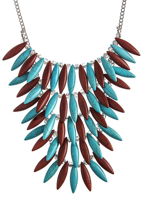 FAUX TURQUOISE TIERED BEADED NECKLACE SET