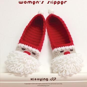 Santa Claus Women Slippers Crochet via Craftsy | zapatos | Pinterest ...