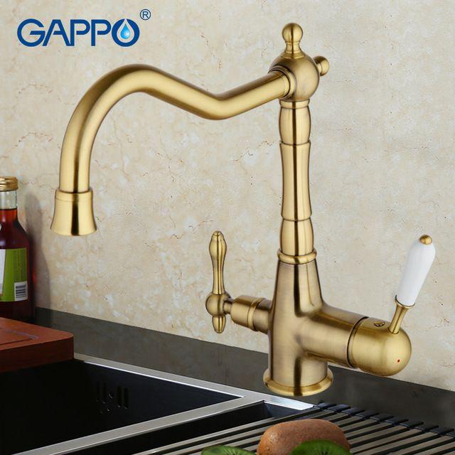 Gappo 1set Water Faucets Kitchen Faucet Tap Brass Kitchen Sink Mixer Crane Drinking Faucet Cold Bronze Kitchen Faucet Kitchen Water Faucet Bronze Kitchen Sink