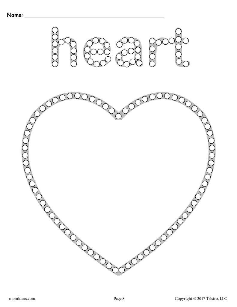 Heart Q Tip Painting Printable In 2020 Q Tip Painting Shapes Preschool Preschool Worksheets