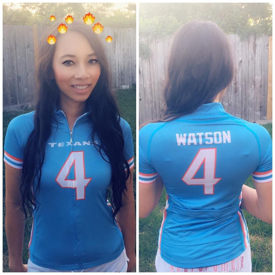 Custom designed Deshaun Watson cycling jersey in Houston Oilers throwback  colors.  HoustonTexans  deshaunwatson 0d76a335c