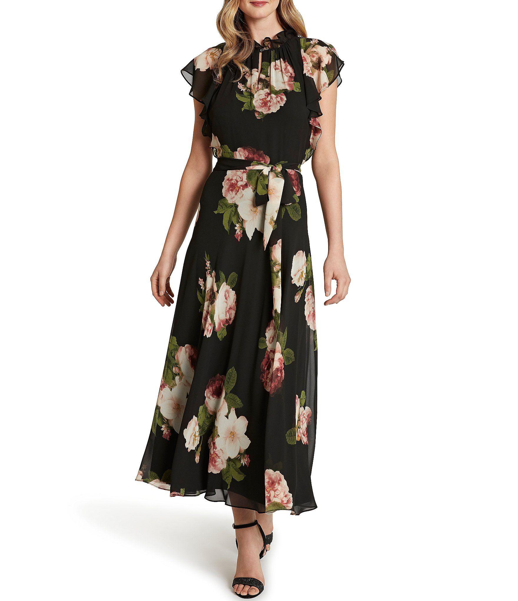 Tahari Asl Flutter Sleeve Rose Printed Chiffon Dress Dillard S Chiffon Dress Chiffon Evening Dresses Print Chiffon Maxi Dress [ 2040 x 1760 Pixel ]