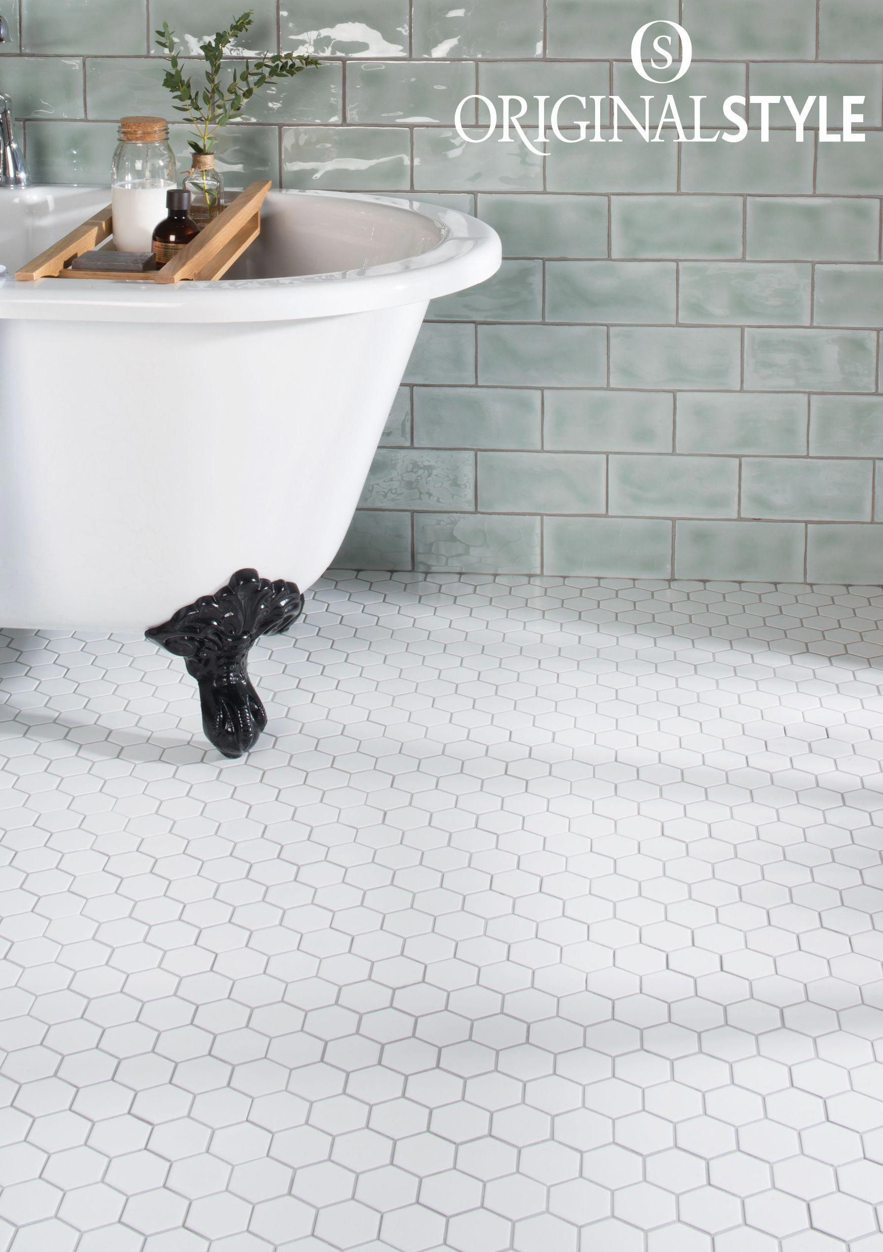 Large White Hexagon Mosaics Are A Simple And Classic Choice Of Floor Tile For Both Moder Traditional Bathroom Classic Bathroom Tile White Hexagon Tile Bathroom