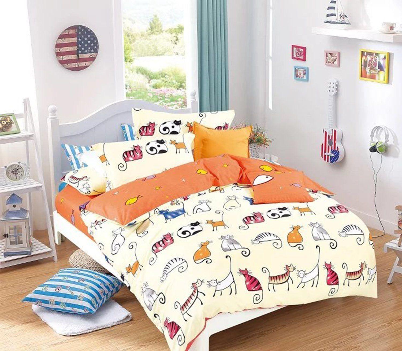 Cliab Cat Bedding Set Queen Cats Bed Sheets Girls Kids Boys 100