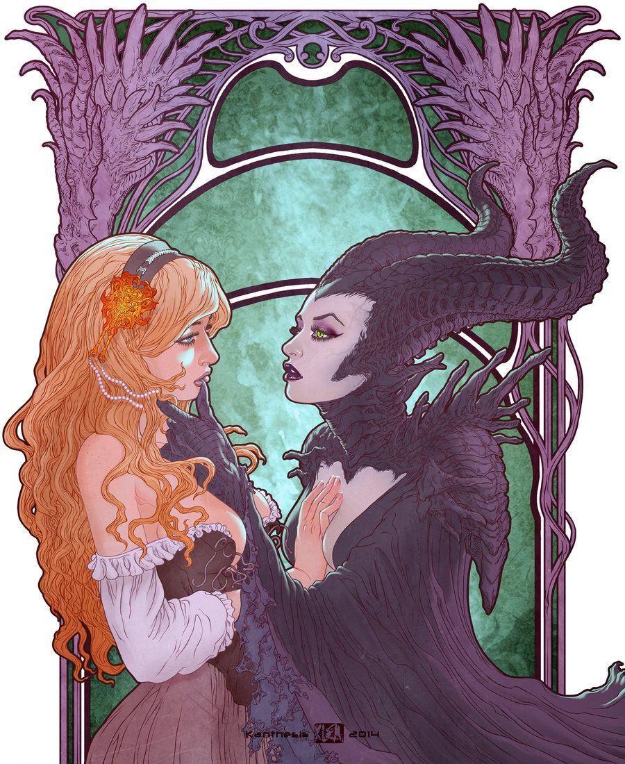 maleficent and aurora kiss - Pesquisa Google | ภาพวาด