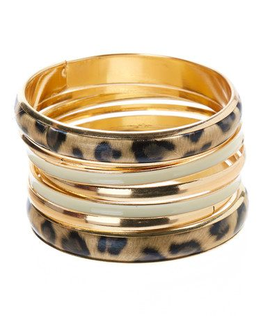 Look what I found on #zulily! Gold & Gray Animal Bangle Set by Lux Accessories #zulilyfinds