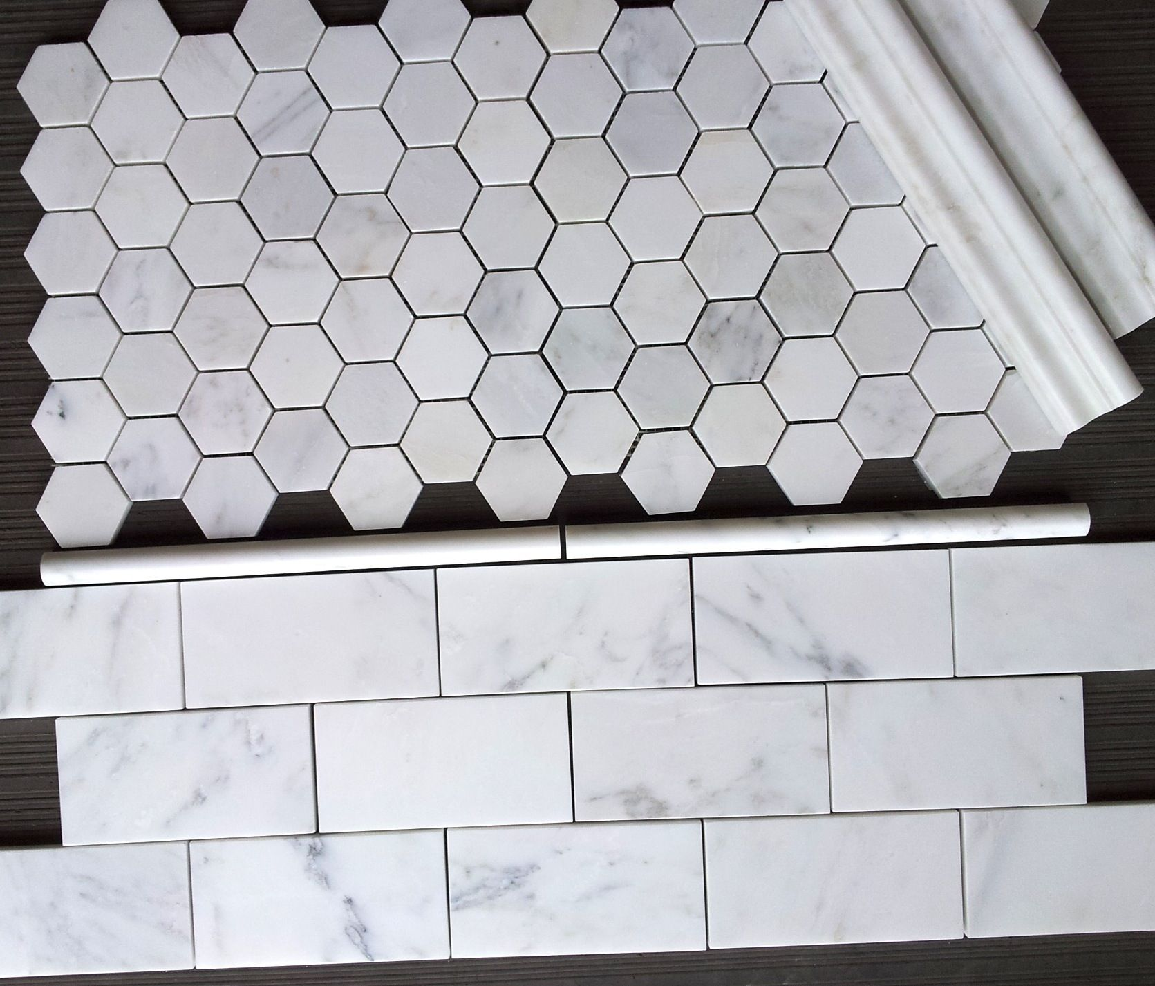Carrara venato 3x6 subway tile and venato 2 hexagon mosaic tile from thebuilderdepot Marble hex tile bathroom floor
