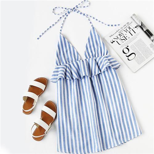 ROMWE Halter Neck Blue Vertical Striped Frill Trim Dress Womens Sexy Summer Dresses Sleeveless Backless Tunic Dress