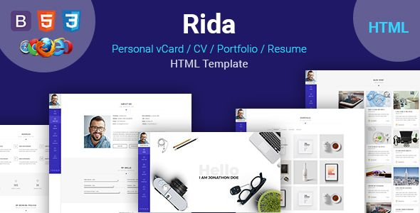 Awesome Rida Vcard  Responsive Html PortfolioResume Template