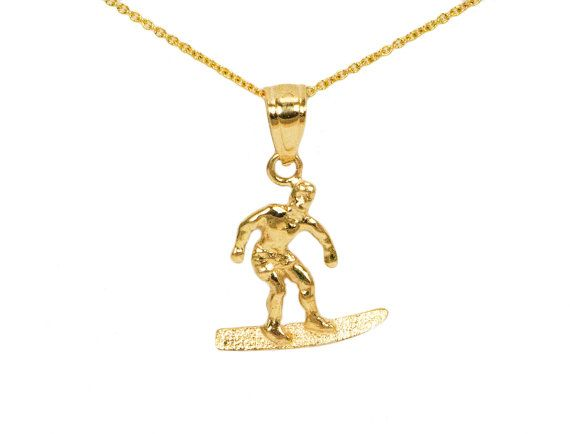 10k Gold Surfboard Charm For Charm Bracelet Small Gold Necklace 10k Gold Surfboard Necklace For Charm Necklace Gold Surfbo Small Gold Necklace Gold 10k Gold