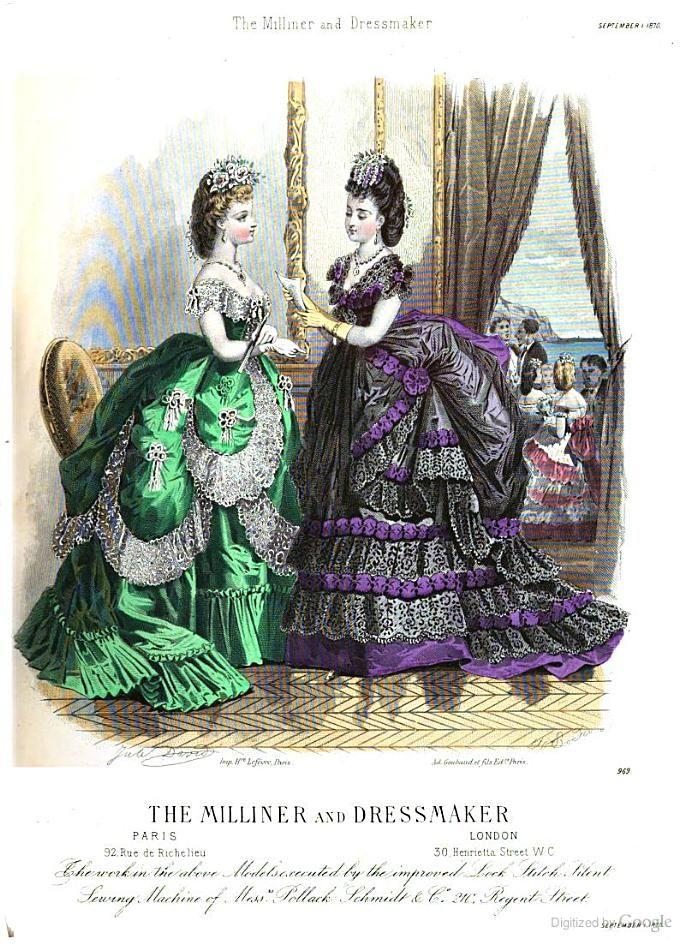 September 1870, The Milliner and Dressmaker, evening toilettes