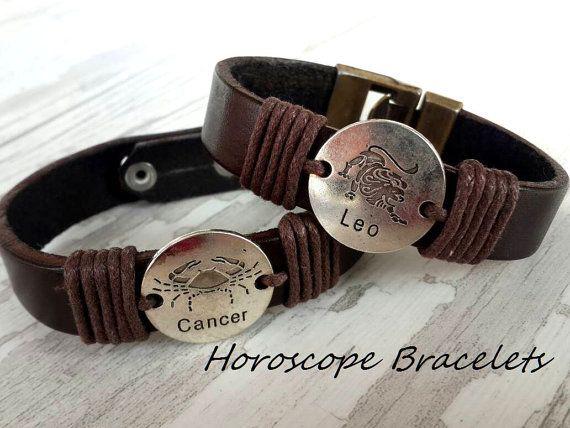 Zodiac  Bracelet ,Horoscope Symbols Bracelet , Handmade Bracelet , Handmade Leather Brarelet ,Bohemian Style ,Cuff Bracelet