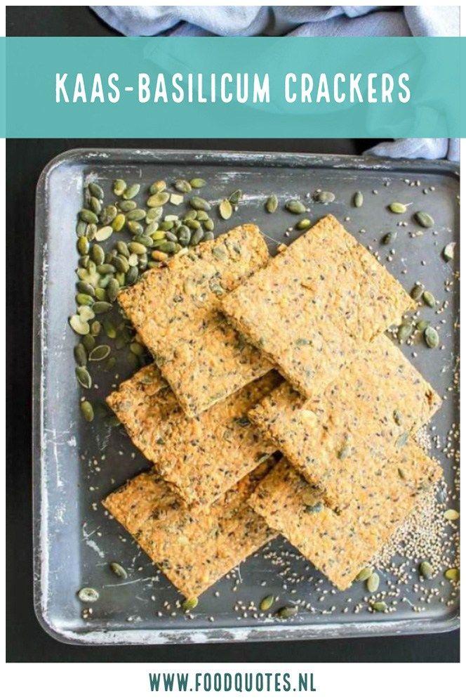 Kaas-basilicum crackers; vezelrijk en knapperig - FoodQuotes