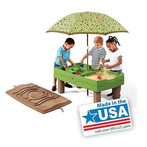 Sandbox Outdoor Sand And Water Activity Table Umbrella Patio Toys