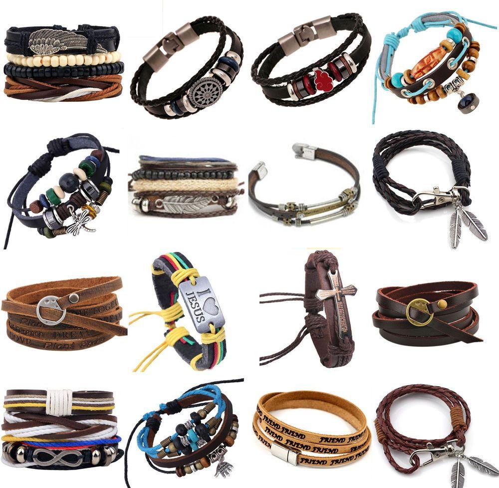 Fashion handmade genuine leather bracelets for men punk surfer