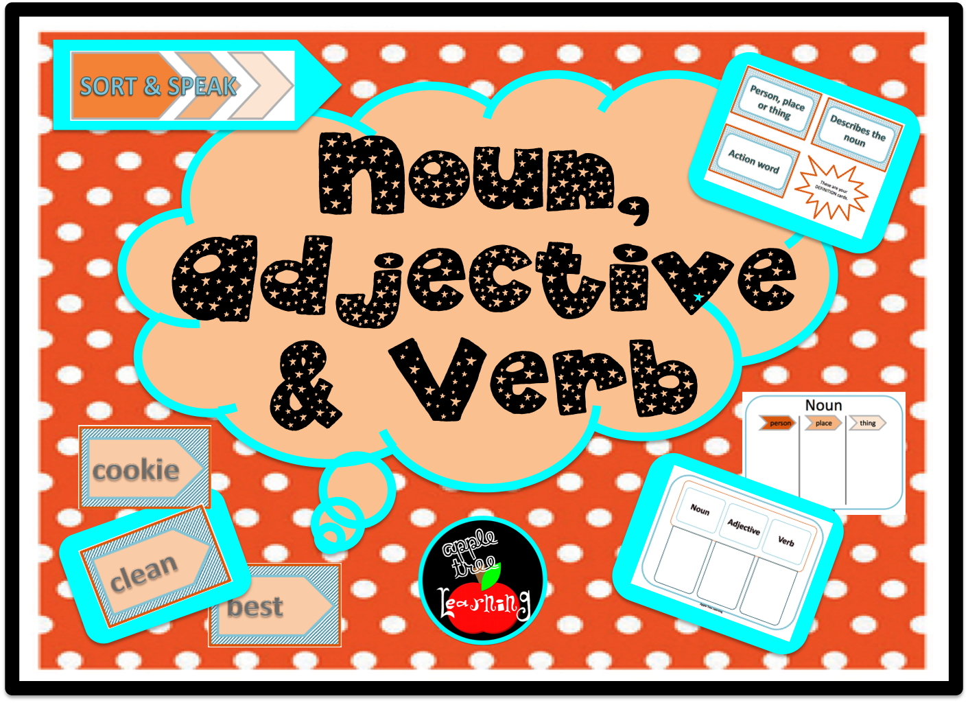 Noun Adjective Amp Verb Game And Graphic Organizers