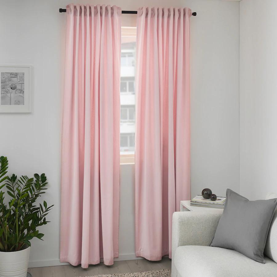 Sanela Room Darkening Curtains 1 Pair Light Pink 55x98 Ikea In 2020 Pink Bedroom Decor Pink Curtains Light Pink Rooms #pink #living #room #curtains