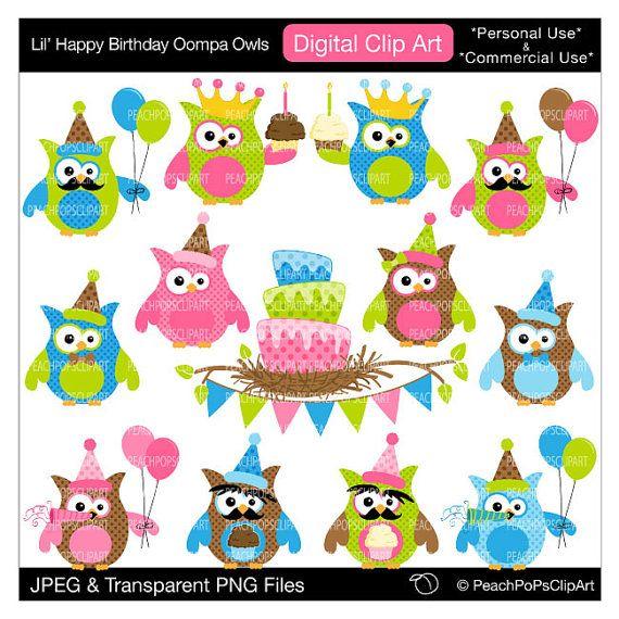 clip art digital polka dots - Lil Happy Birthday Oompa Owls