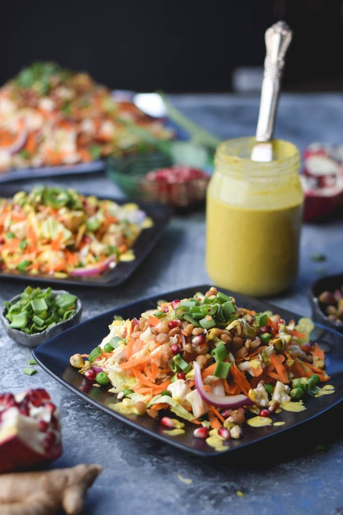 Indian Carrot Lentil Salad With Curry Tahini Dressing Vegan