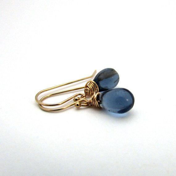Small Navy Blue Drop Earrings Midnight Gl Gold Filled Jewelry Dark Delicate Czech By Felisajewelry