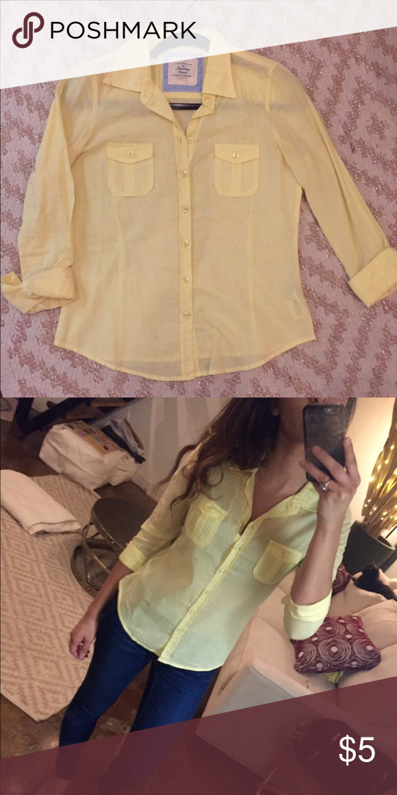 Yellow Blouse Yellow Blouse with pocket details. Soft, comfortable material Forever 21 Tops Blouses