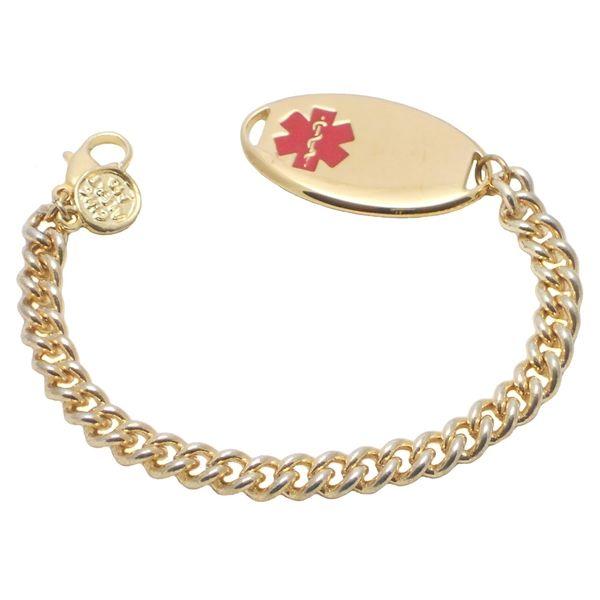 14k Gold Plated Stainless Steel Thin Medium Curb Link Medical Id Bracelet Medic Alert Bracelets 14k Gold Plated Medical Id Bracelets