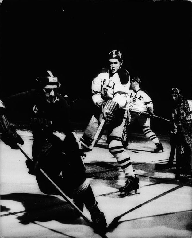 Photographer/Creator  Albert Moldvay  Collection  1956  Publisher  Denver Post  Caption/Description  Picture shows game action of ice hockey between Yale and Denver.