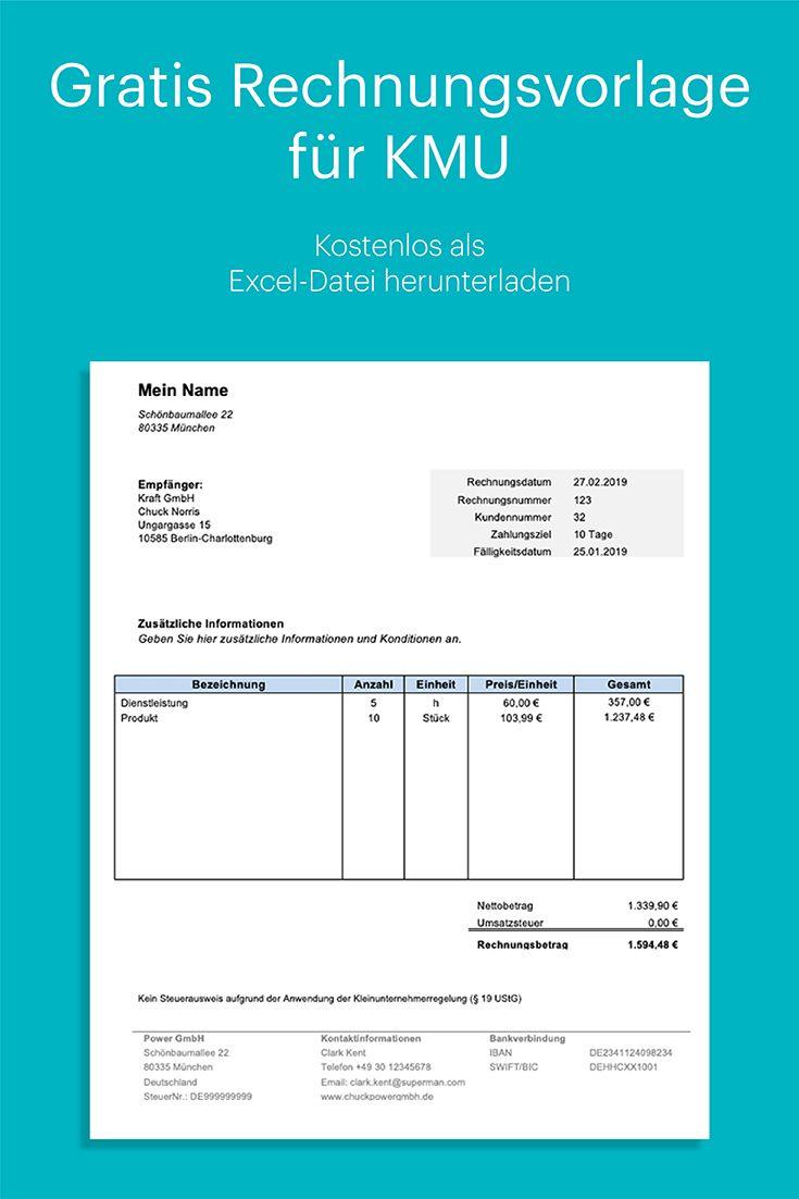 Kleinunternehmer Rechnung Kostenlose Vorlage In Excel Mit Anleitung Rechnung Vorlage Rechnungsvorlage Excel Vorlage