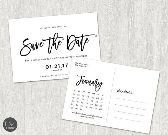 Save the Date Postcard Invitation Calendar by paperandinkdesignco - post card invitations